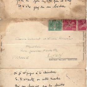 Poeme de Montluc- lettre de Cocteau-Archive privée- Duhamel